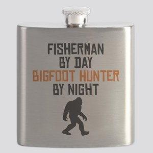 Fisherman By Day Bigfoot Hunter By Night Flask