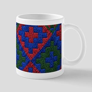 Green blue red Quilt Mugs