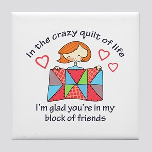 QUILT CRAZY LIFE Tile Coaster