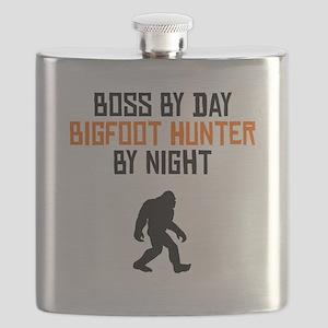 Boss By Day Bigfoot Hunter By Night Flask