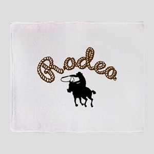 RODEO CALF ROPING Throw Blanket