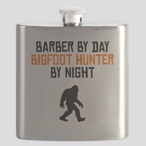 Barber By Day Bigfoot Hunter By Night Flask