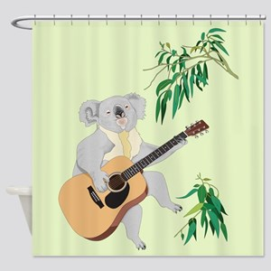Koala Playing Guitar, Shower Curtain