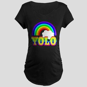 YOLO with Rainbow Maternity Dark T-Shirt