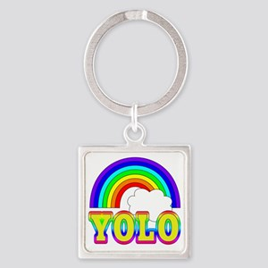 YOLO with Rainbow Square Keychain
