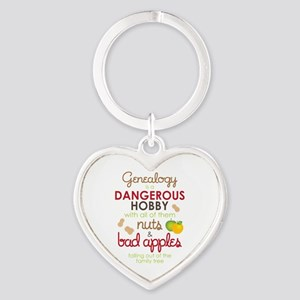 Genealogy Nuts Heart Keychain