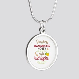 Genealogy Nuts Silver Round Necklace