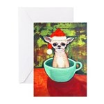 Teacup Chihuahua Santa Claus Greeting Cards (Pk of