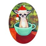 Teacup Chihuahua Santa Claus Oval Ornament