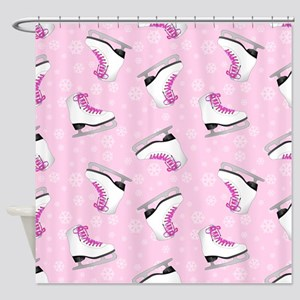 Pink Ice Skating Pattern Shower Curtain
