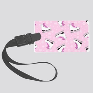 Pink Ice Skating Pattern Large Luggage Tag