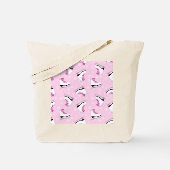 Pink Ice Skating Pattern Tote Bag