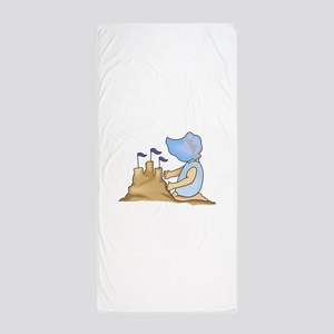 BABY AND SAND CASTLE Beach Towel