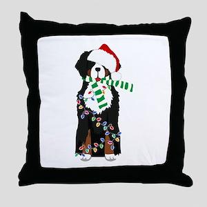 Christmas Bernese Mt Holiday Dog Throw Pillow