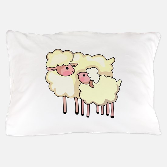 EWE WITH BABY LAMB Pillow Case