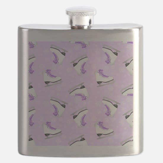Purple Figure Skating Pattern Flask