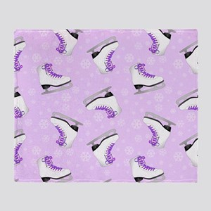 Purple Figure Skating Pattern Throw Blanket
