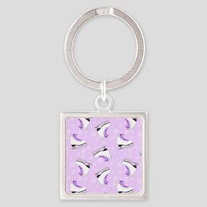 Purple Figure Skating Pattern Square Keychain