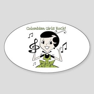 Colombian Girls Rock Oval Sticker