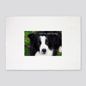 Love me, love my dog (Sheep Dog) 5'x7'Area Rug