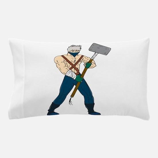 Ninja Masked Warrior Sledgehammer Cartoon Pillow C