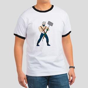 Ninja Masked Warrior Sledgehammer Cartoon T-Shirt