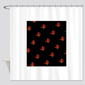 Black Orange Stingray Abstract Art Shower Curtain