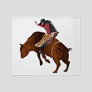 Cowboy - Bull Rider NO Text Throw Blanket