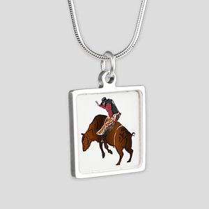 Cowboy - Bull Rider NO Tex Silver Square Necklace