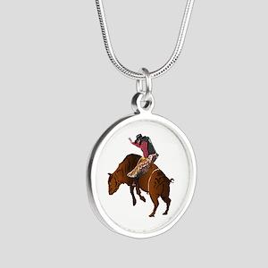 Cowboy - Bull Rider NO Text Silver Round Necklace