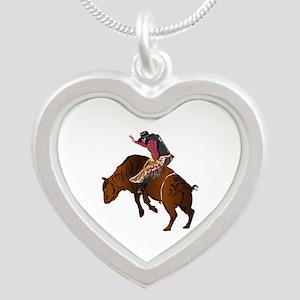 Cowboy - Bull Rider NO Text Silver Heart Necklace