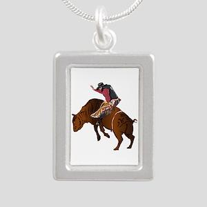 Cowboy - Bull Rider NO T Silver Portrait Necklace