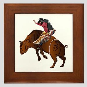 Cowboy - Bull Rider NO Text Framed Tile