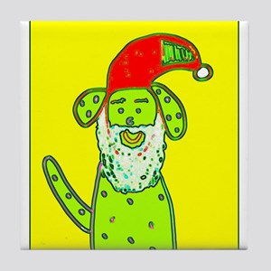 Santa Dog Yellow for Willy Tile Coaster