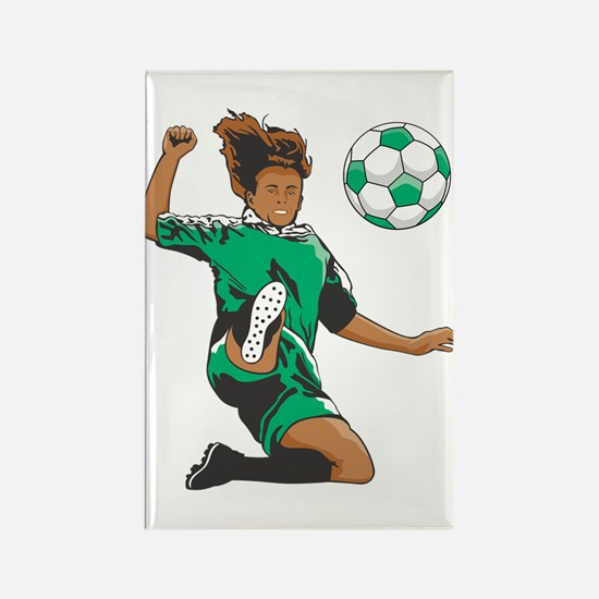 Soccer Players Kick Balls Rectangle Magnet