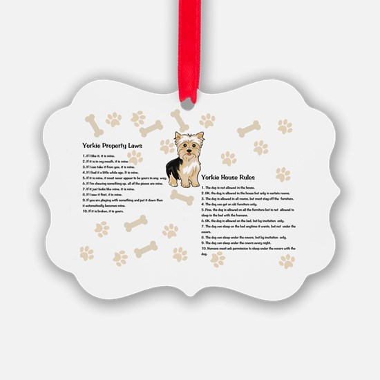 Yorkie House Rules Ornament