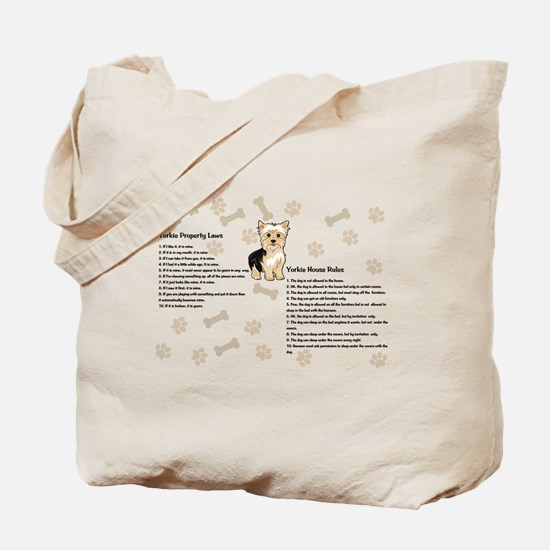 Yorkie House Rules Tote Bag
