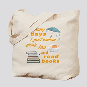 Rainy Days Tea Books Tote Bag
