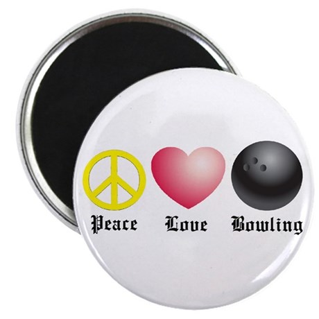 """Peace, Love, Bowling 2.25"""" Magnet (10 pack)"""