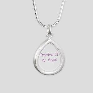 Grandma of an Angel Silver Teardrop Necklace