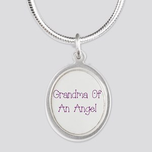 Grandma of an Angel Silver Oval Necklace