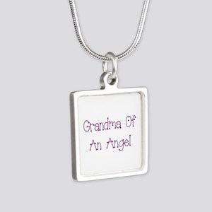 Grandma of an Angel Silver Square Necklace
