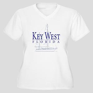 Key West Sailboat - Women's Plus Size V-Neck T-Shi