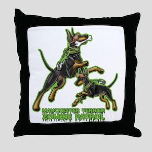 Manchester Terrier Zombie Patrol Throw Pillow