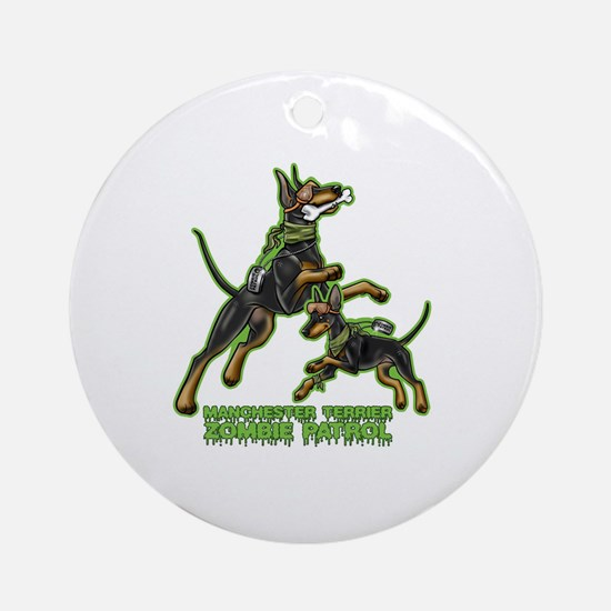 Manchester Terrier Zombie Patrol Round Ornament
