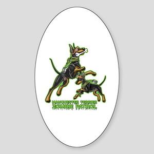 Manchester Terrier Zombie Patrol Sticker (Oval)