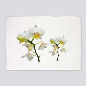 beautiful white orchid flowers. 5'x7'Area Rug