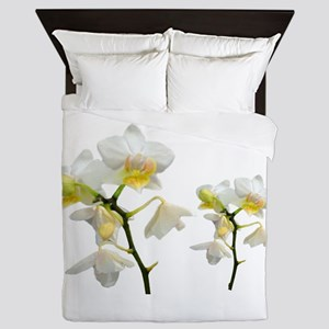 beautiful white orchid flowers. Queen Duvet