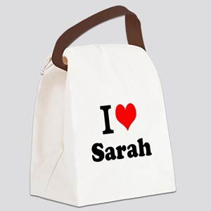I Love Sarah Canvas Lunch Bag