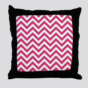 Cerise Red Chevrons Pattern Design Throw Pillow